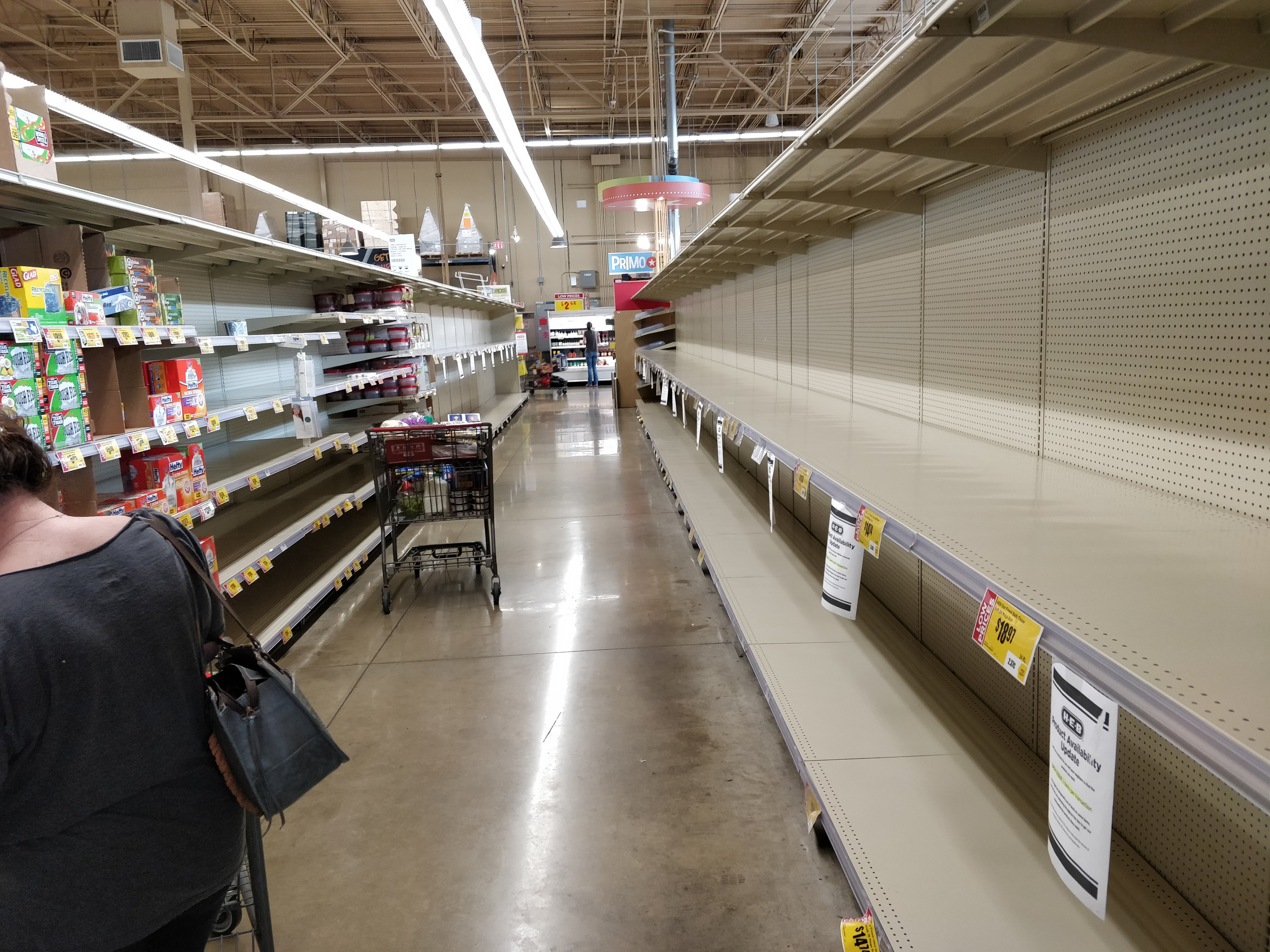 grocery store with empty shelves March 2020